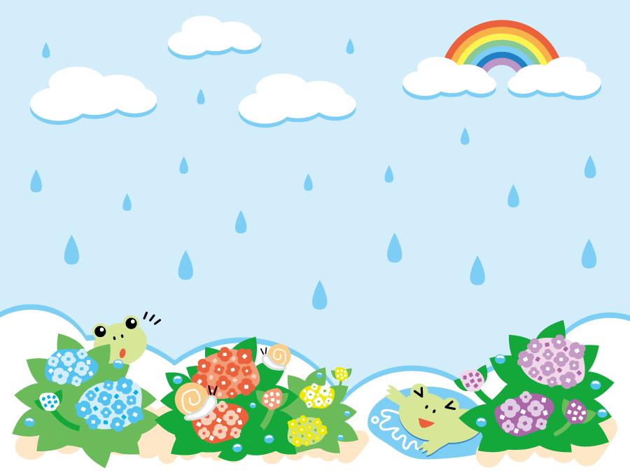 フリーイラスト 虹と雨の降る梅雨の日の背景 梅雨 あじさい イラスト
