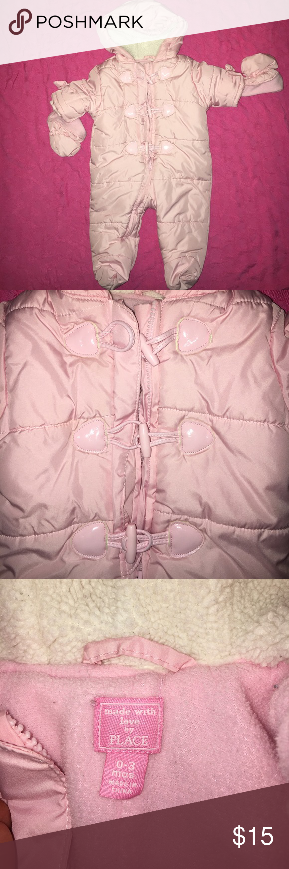 0-3 month Childrens place snow suit with mittens Pink Childrens Place Snow suit with mittens. Toggle button down detail, hood with decorative ears. Super cute and warm Children's Place Jackets & Coats