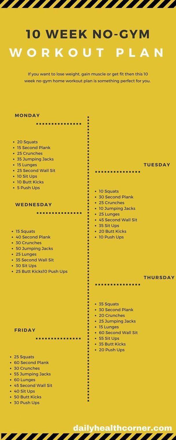 10 Week No Gym Workout, At Home Workout Plan