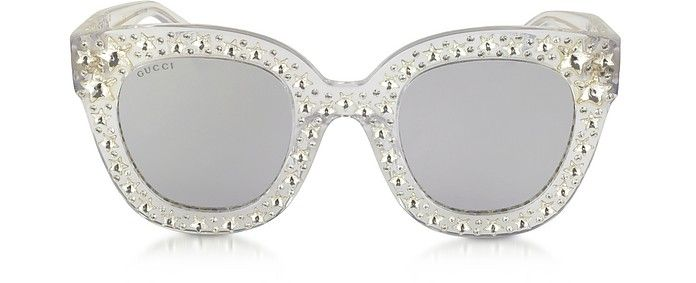 6c95b0b377f81 GUCCI GG0116S Acetate Cat Eye Women s Sunglasses w Stars feature star  worthy retro.  gucci
