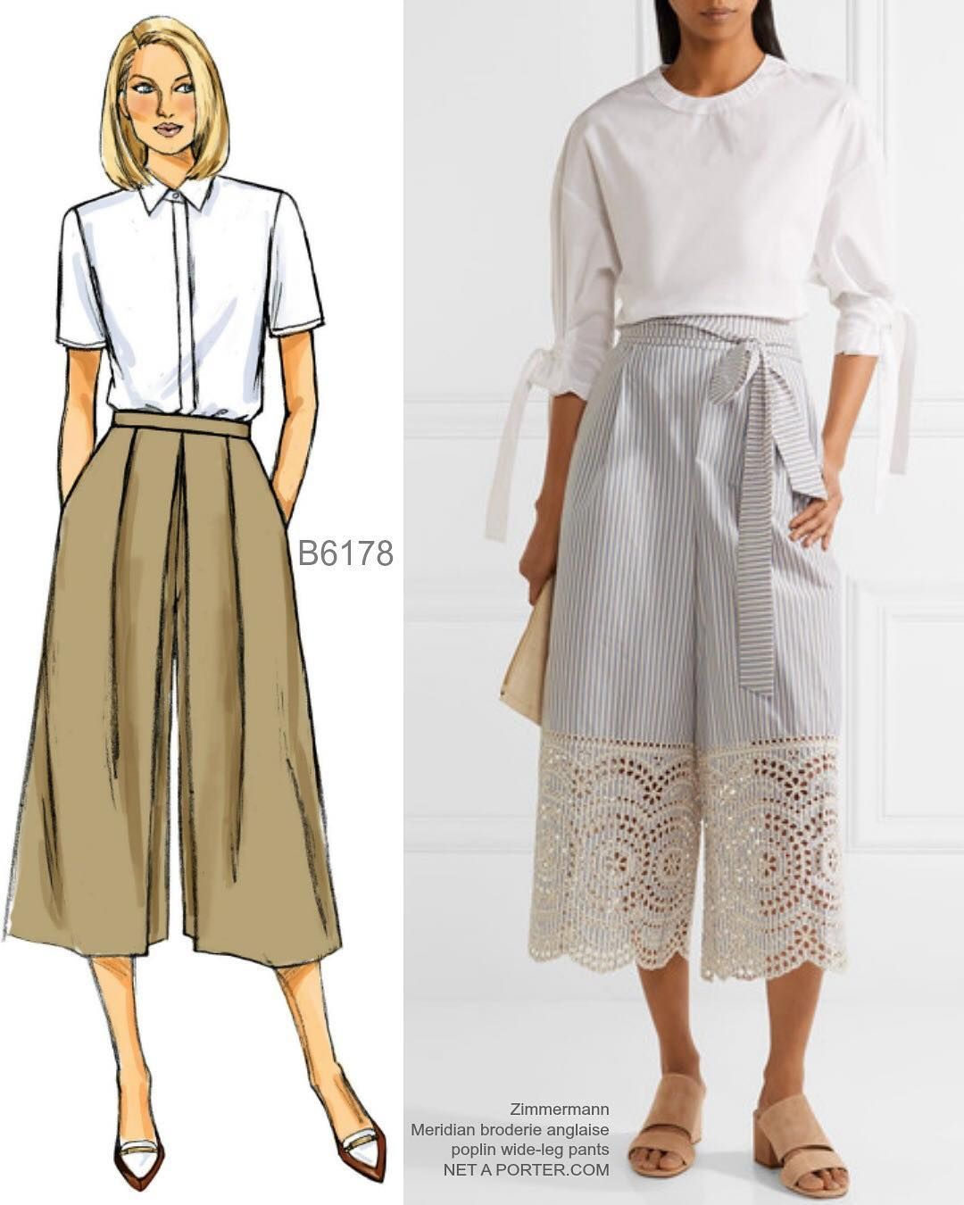 Sew the look(tm): These gorgeous culottes on the right. Borrow the lace idea! #butterick #b6178 📷inspo culottes by Zimmermann and available at Net-a-Porter. #sewthelook #summersewchallenge