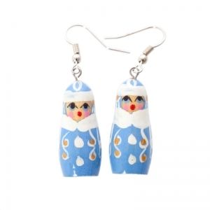 Handmade winter matryoshka earrings