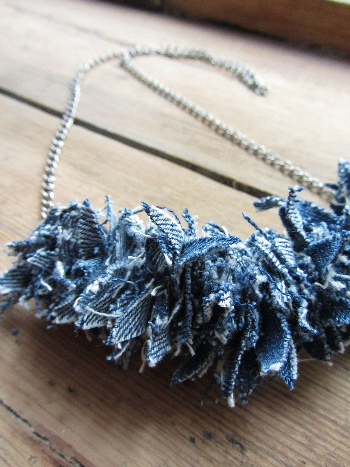 Upcycled denim necklace craftey craft pinterest for Jeans upcycling ideas