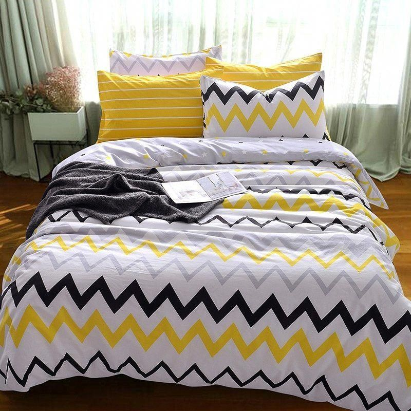 Kids Yellow Black White And Grey Zigzag Chevron Stripe Print Unique High Fashion 100 Cotton Twin Full Size Bed Linens Luxury Bedroom Decor Cute Bedroom Decor