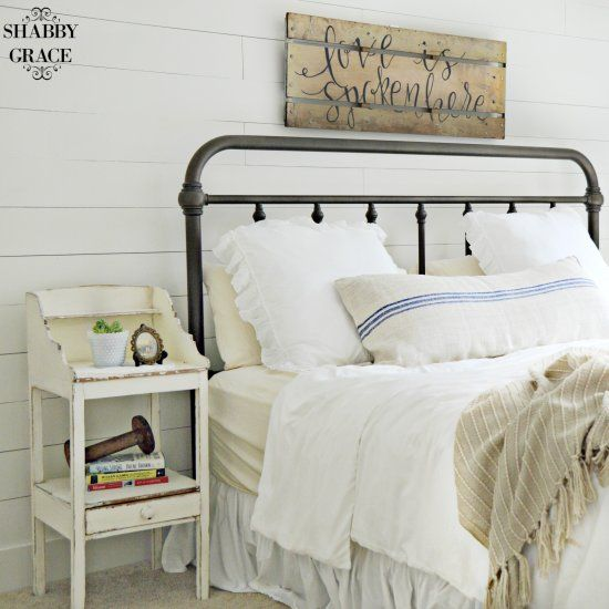 Add charm to your farmhouse master bedroom with shiplap, a faux ...