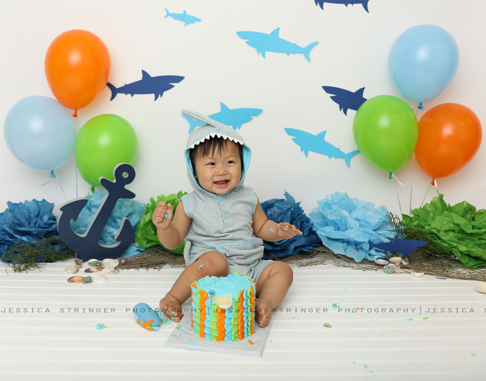 Shark Theme Cake Smash Baby Photos First Birthday Under The Water