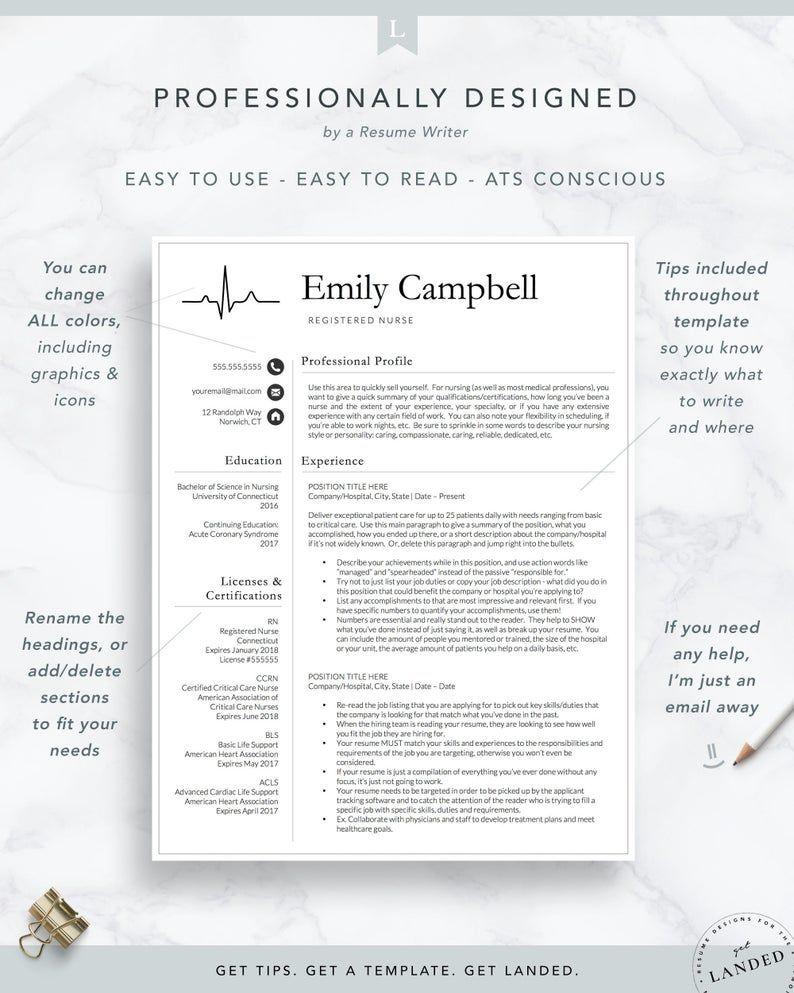 New Nurse Resume Template Registered Nurse Resume Template Etsy In 2020 Medical Resume Template Nursing Resume Template Medical Resume
