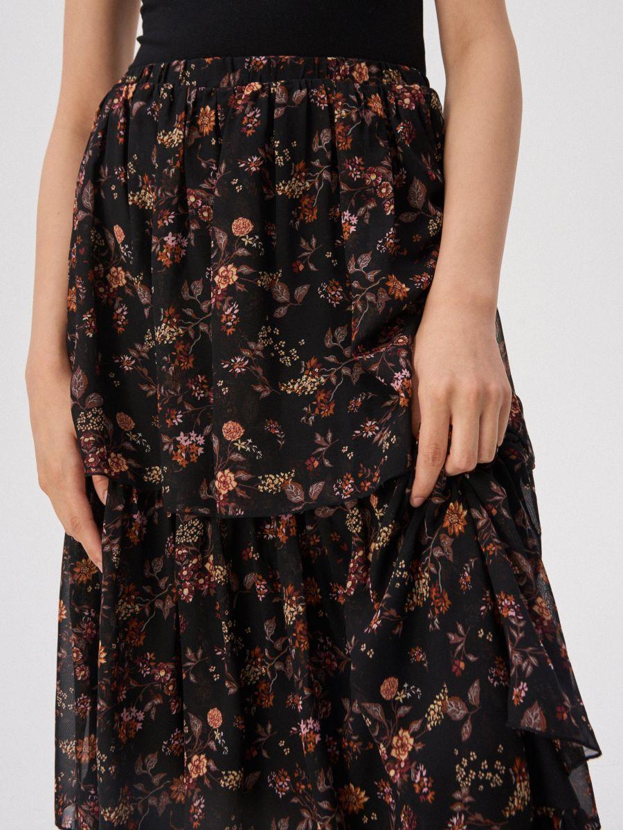 Kaskadowa Spodnica W Kwiaty Sinsay Wl665 Mlc Printed Skirts Floral Print Skirt Skirts