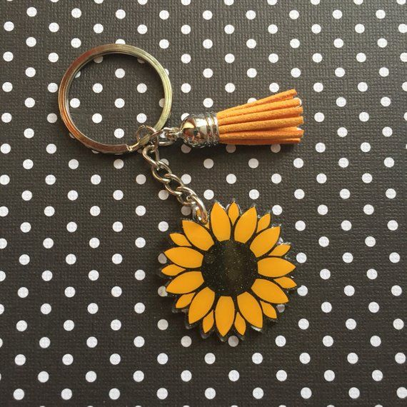 Sunflower Key Ring Sunflower Keychain Valentine Gift | Etsy