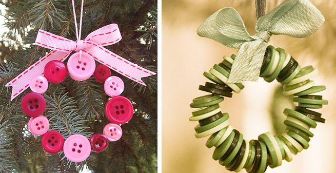 Adorno navideos hechos con botones Navidad Pinterest Botones