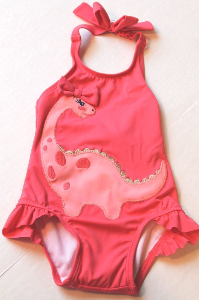 Gymboree Infant Girl 6 12 Months Coral Pink One Piece Swimsuit W Dinosaur New Gymboree Onepiece One Piece Baby Swimsuit One Piece Swimwear