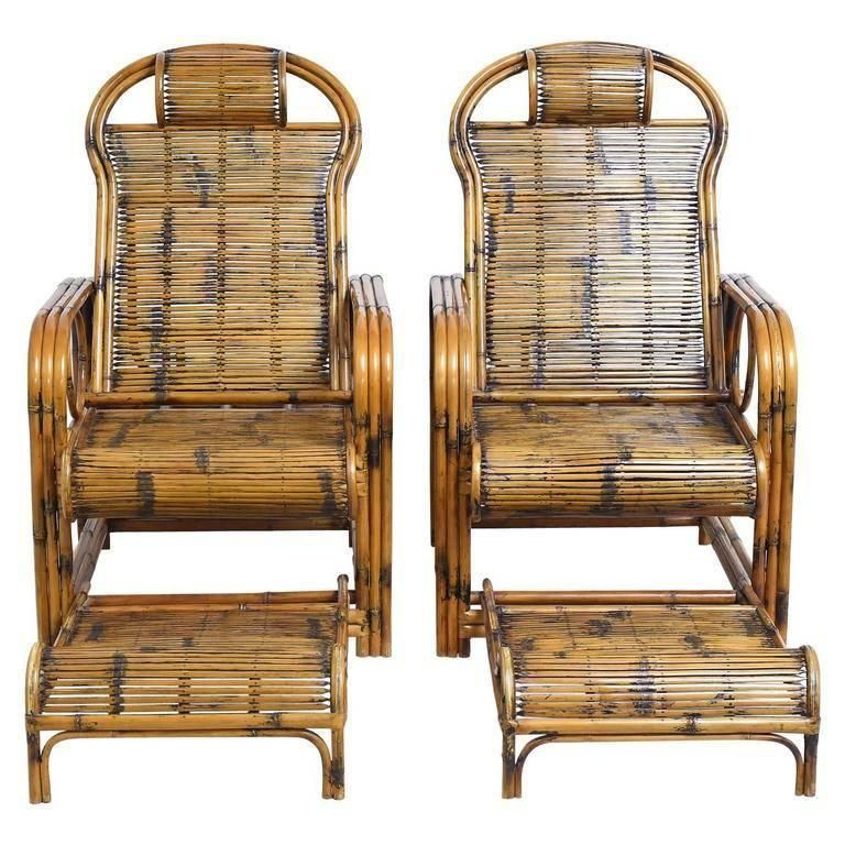 Pair Of Bamboo Lounge Chairs With Sliding Foot Rests