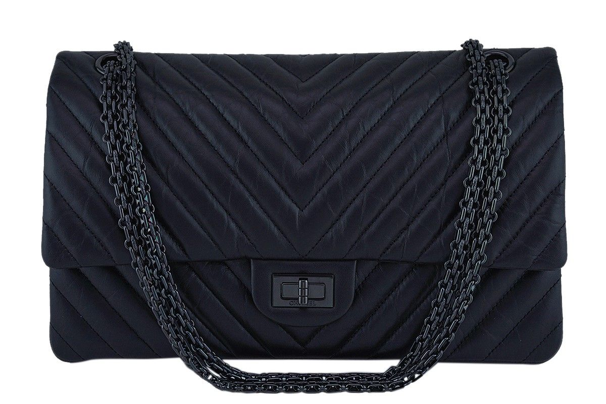 5f061514922a NIB Chanel So Black Chevron 226 Classic Reissue 2.55 Flap Bag AGED CALFSKIN  rare - One of the most sought-after models within the house of Chanel is  the ...