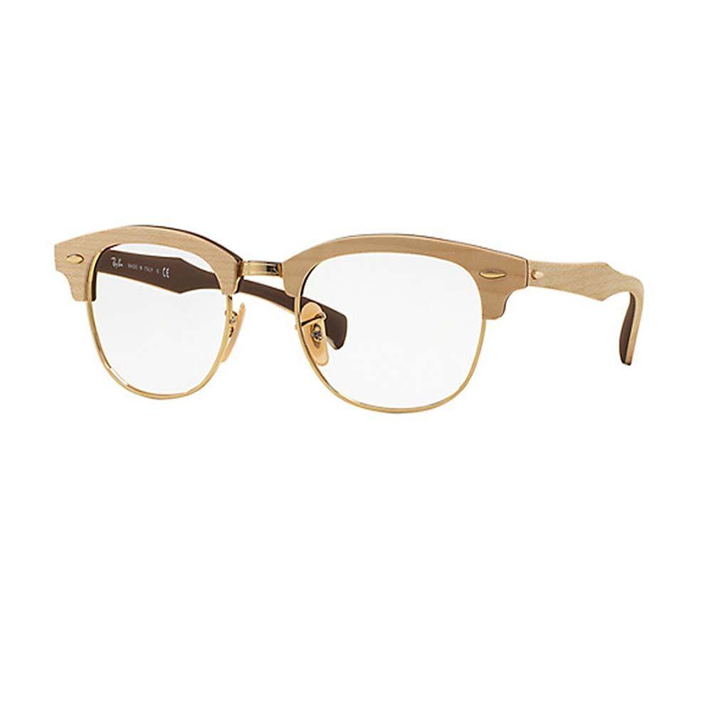 Ray Ban 5154M 5559. Occhiale da vista Ray Ban ideale sia per l uomo che per  la donna. Genere clubmaster in legno e metallo color oro. 82f491d85e