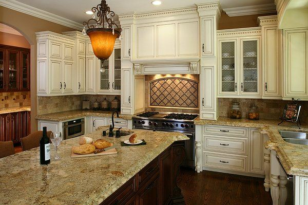Antique Glazed Kitchen Cabinets Antique White With A Mocha Glaze Kitchen Yelp