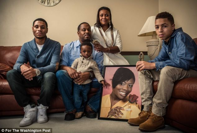 Ms Jackson lived in Clinton, Maryland with (from left): her stepbrother Chase Martin, stepfather Levi Martin, two-year-old son Princeton Jac...