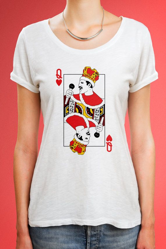 d7d536228e2 Freddie Mercury funny tshirt with queen game card design. Size chart in  last photo. Please purchase with it.     If you dont have a Paypal account