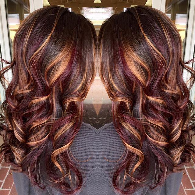Brunette Hair Color With Burnished Blonde Highlights Curly Long