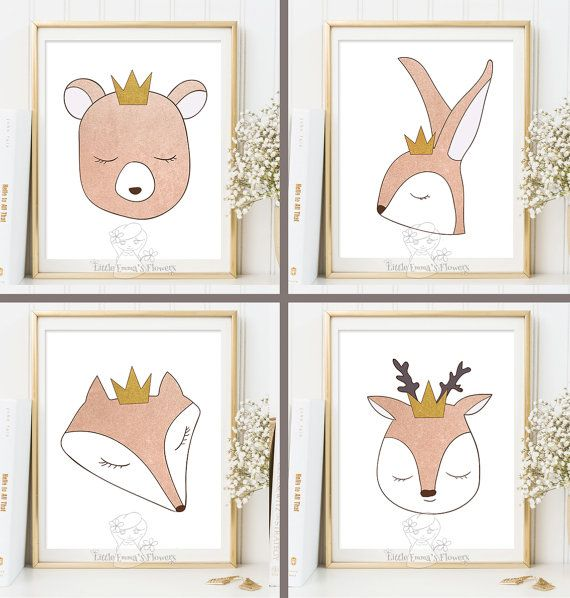 Nursery Art Prints Set Woodland Animals Rose By LittleEmmasFlowers | Baby.blanning  | Pinterest | Gold Farbe, Kindergarten Und Kunstdruck