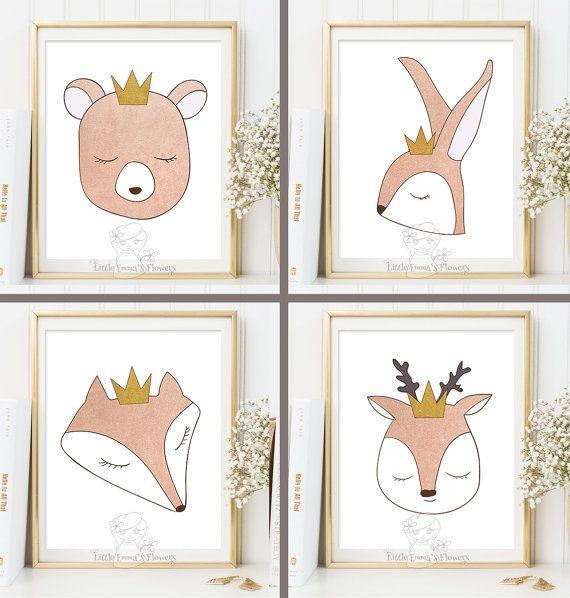 Kindergarten Kunstdrucke Set Wald Tiere Rose Gold Farben | Baby | Pinterest  | Gold Farbe, Kindergarten Und Kunstdruck
