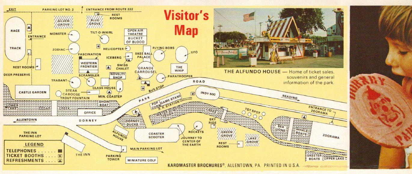 Map from 1970's Dorney Park Brochure   Dorney Park's First Century Dorney Park Map on