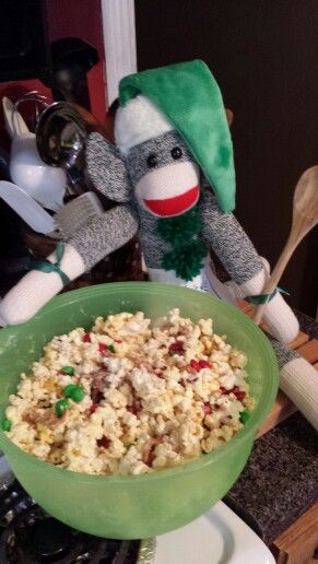Ollie is so helpful! He helped make yummy Christmas Crunch!