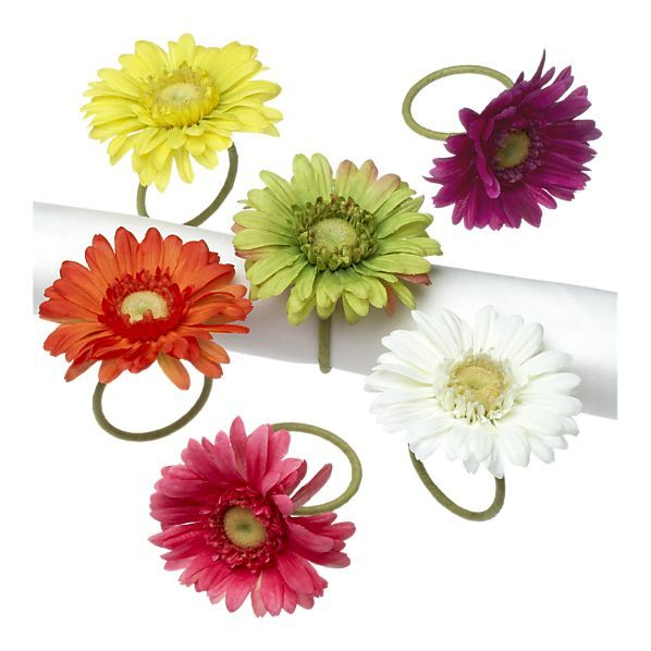 New Dining And Entertaining Napkin Rings Gerber Daisies Napkins