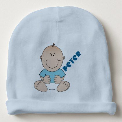cute baby boy in blue monogram beanie