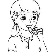 girl eating a birthday cake coloring page coloring page birthday
