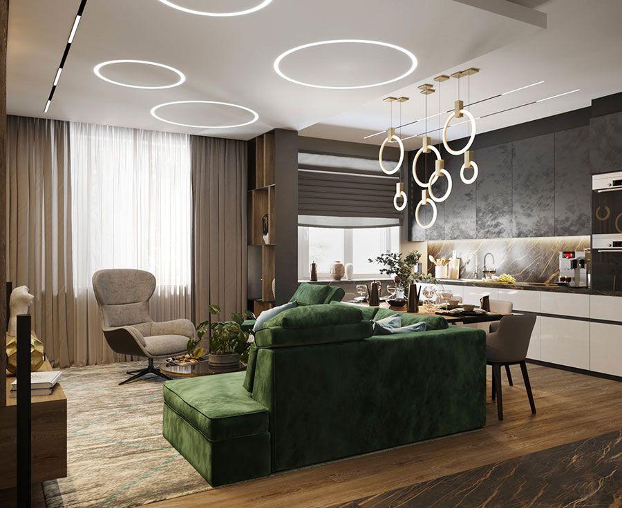40 Idee per Soggiorno con Cucina a Vista | uzir | Room ...