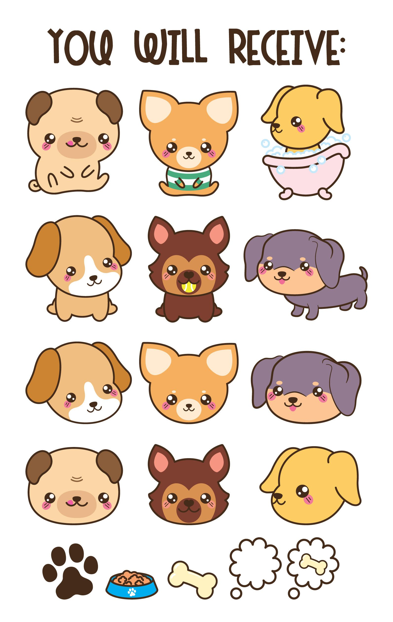Kawaii Dog Clipart Cute Dog Clipart Dog Breeds Clipart Daschund