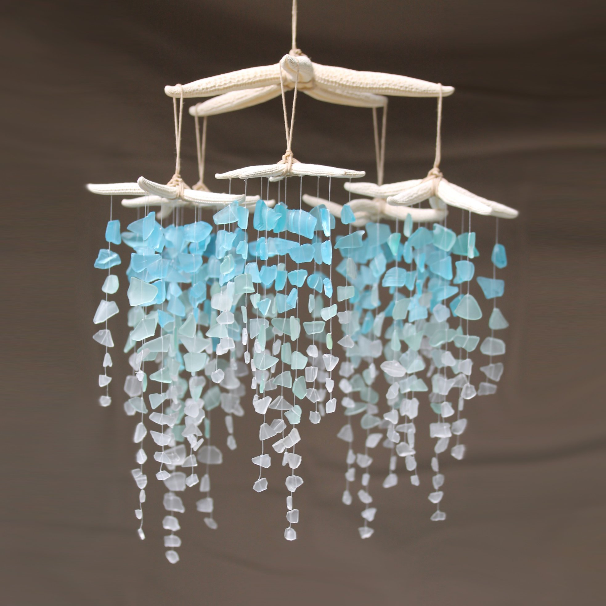 Sea Glass Starfish Mobile Colossal Ombre Chandelier Art Glass Jewelry Glass Art Stained Glass Art