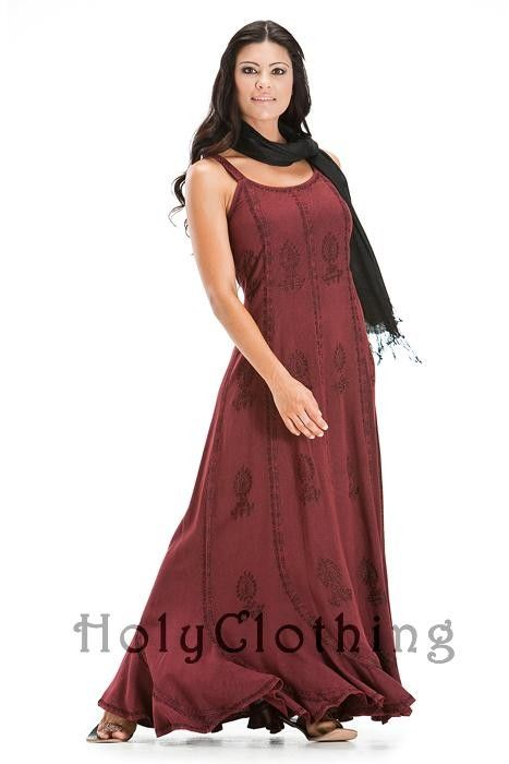 Saria Scalloped Hem Gothic Embroidered Gypsy Sun Beach Dress