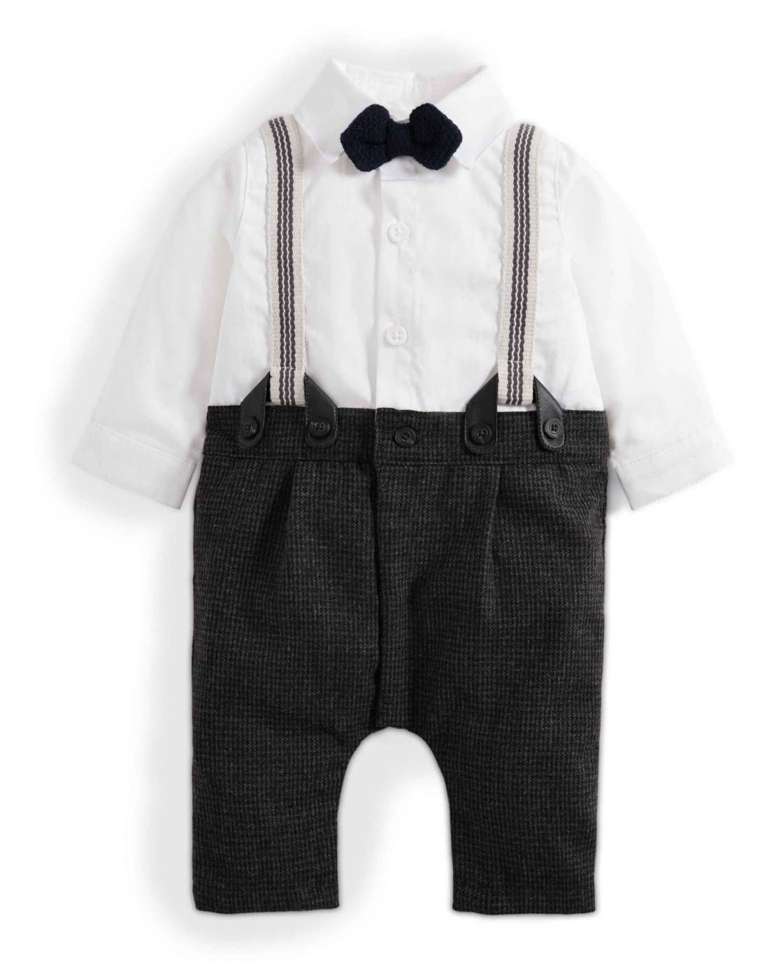 Mamas /& Papas Baby Boys Check Mock Braces Romper