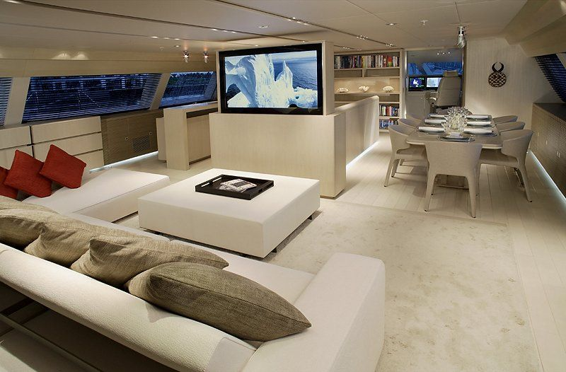 Luxurious Interior Design Of A Sailing Yacht Boat Interior