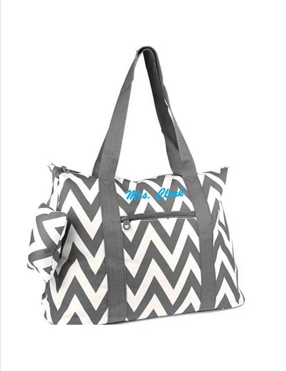 Overnight Bag Nurse Chevron Grey By Handfulsofpurpose4u