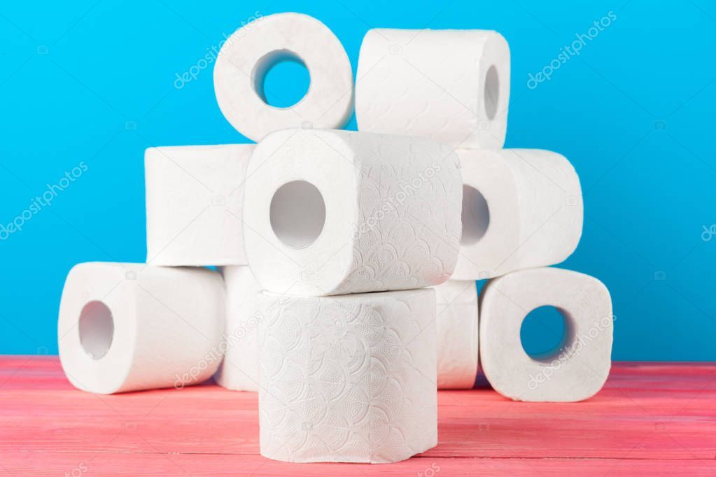Toilet Paper Rolls Stacked Blue Background Stock Photo Affiliate Rolls Stacked Toilet Paper Ad Toilet Paper Roll Toilet Paper Paper Rolls