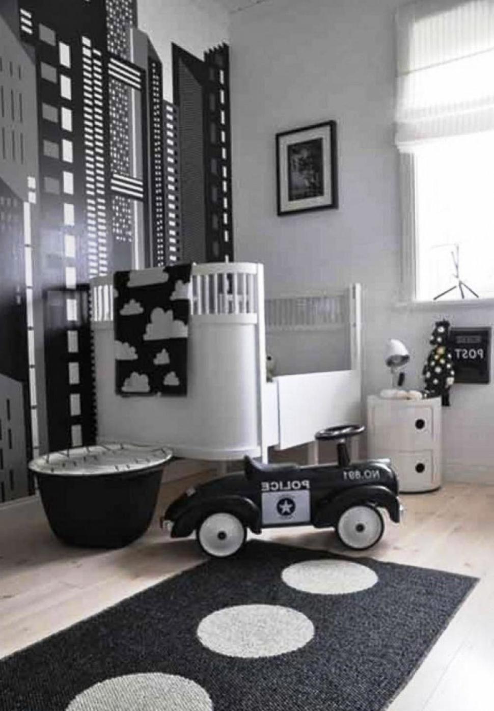 Baby NurseryBlack And White Baby Nursery Decoration Ideas With Wall