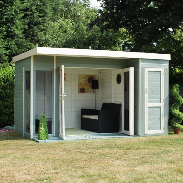 12 X 8 Waltons Contemporary Summerhouse With Side Shed | Gardens