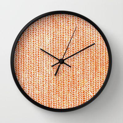 Stockinette Orange Wall Clock By Elisa Sandoval 30 00