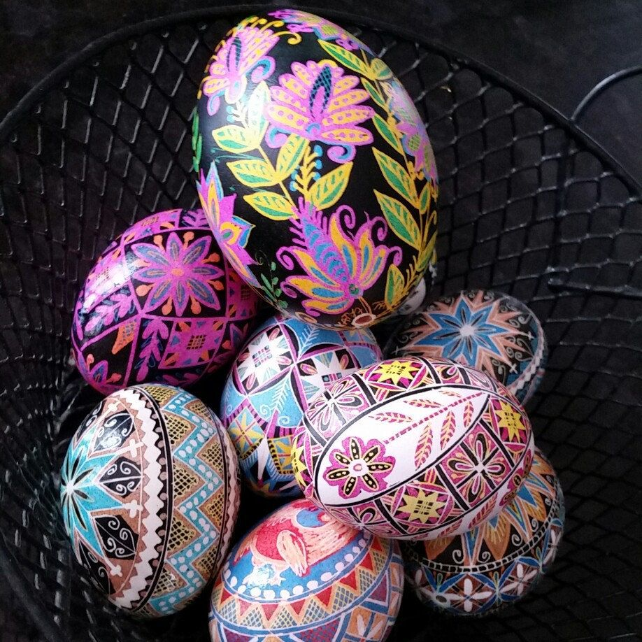 pysanka egg and supplies traditional ukrainian easter egg in happy