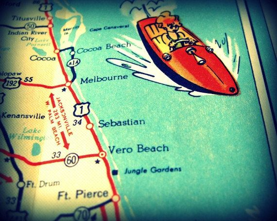 Cocoa Beach Florida Map.Vintage Map Cocoa Beach Vintage Florida Beach Map Print 11x14