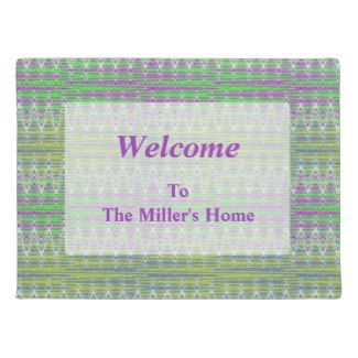 Home Door Mat Colorful Pattern Add your Message #zazzle #personalize #decor #homedecor