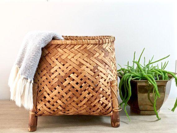 Large Vintage Woven Basket Rattan Plant Stand Planter Storage Basket Footed Honey Bamboo Reeds Large Woven Basket Basket Weaving Wicker Planter