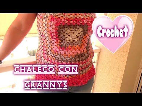 CHALECO FÁCIL DE CROCHET | GANCHILLO CON GRANNYS - YouTube | Chaleco ...