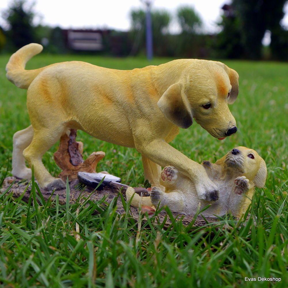 Labrador Golden Retriever mit Welpe Gartenfigur Garten