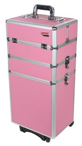 Beautify Professional Pretty Pink 4-in-1 Aluminium Cosmetics Case Beauty Trolley/Vanity Box @ £49.99