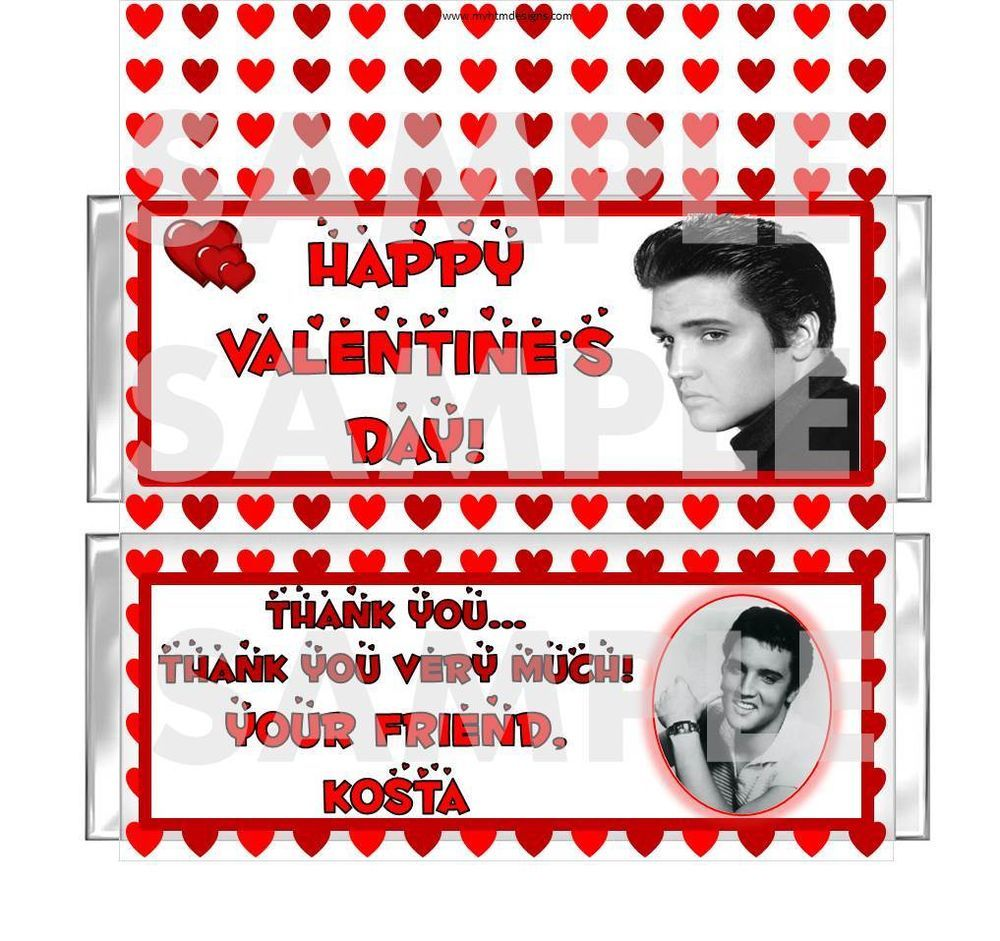 retro elvis valentines party candy bar wrappers favor personalized free foils - Personalized Valentine Candy