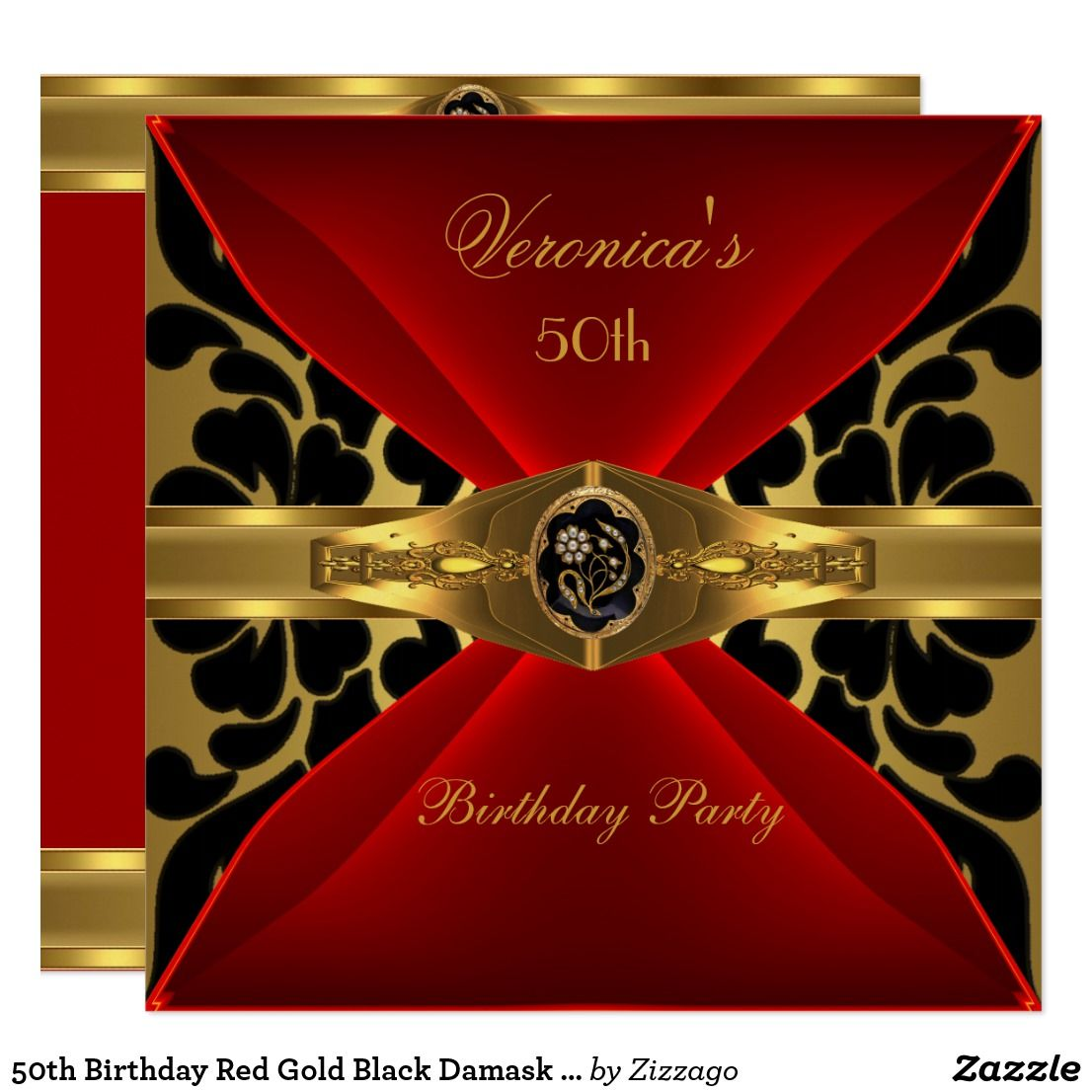 50th Birthday Red Gold Black Damask Floral Jewel Invitation   Zazzle.com in  2020   Jewel invitations, 50th birthday, 50th birthday invitations