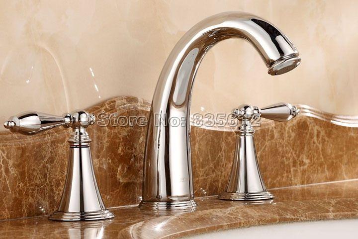 NEW Polished Chrome Finish Bathroom Basin 3 Hole Faucet Widespread ...